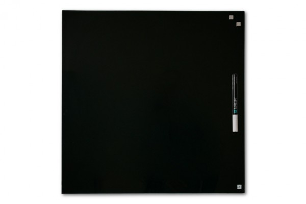 Magnetic glass board, 45 x 45 cm, black, incl. pen and 2 cube magnets