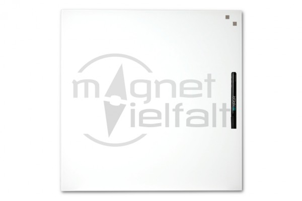 Magnetic glass board, 45 x 45 cm, white, incl. pen and 2 cube magnets