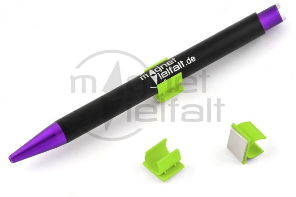 Pen holders, plastic magnetic, neon green