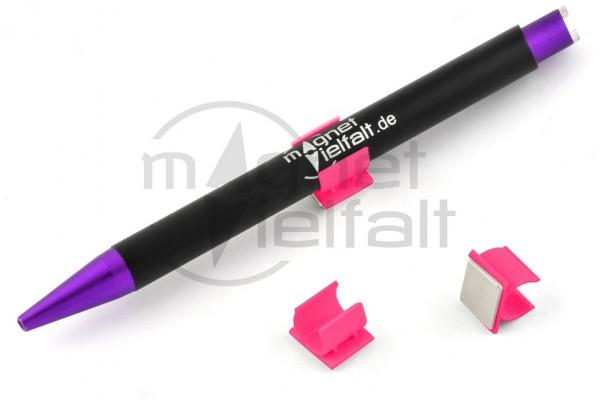 Pen holders, plastic magnetic, neon orange