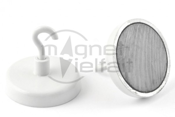 Ferrite Hook Magnets, 40 mm diameter, white