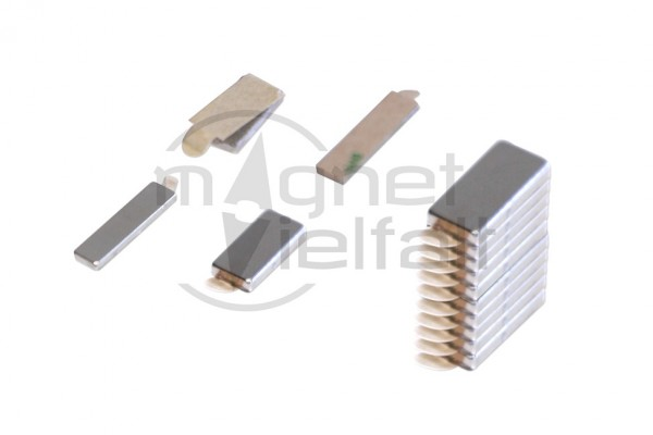 Block magnets, 10x5x1,5 mm, self-adhesive, 5 pairs