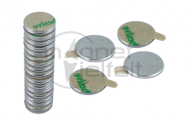 Disc Magnets, 10,0 x 1,0 mm, self-adhesive, 10 pairs