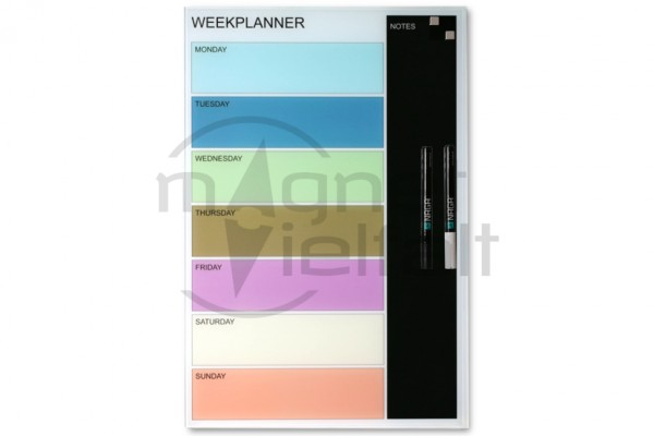 Magnetic glass board week planner, 40 x 60 cm, colored, incl. 2 pens and 2 cube magnets