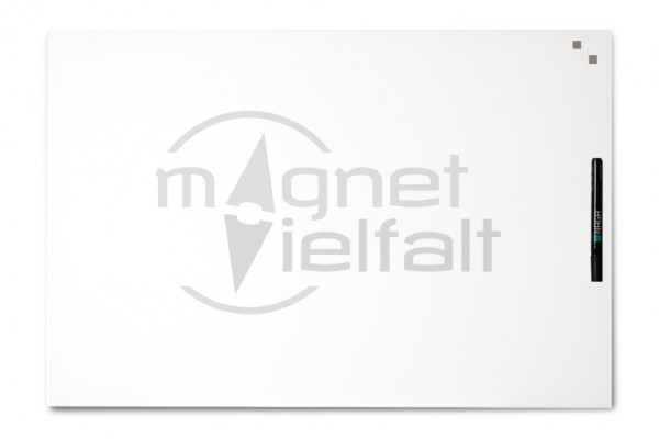 Magnetic glass board, 40 x 60 cm, white, incl. pen and 2 cube magnets