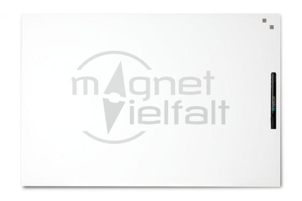 Glas-Magnettafel, 40 x 60 cm, weiss, inkl. Marker und 2 Würfelmagnete